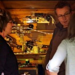Martin Currie explaining the dangers of ray guns to Jill Vincent & guest