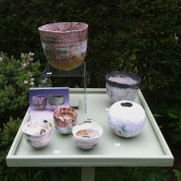 Rachel Wood ceramics in the garden