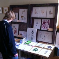 Kay van-Bellen, prints, zines, books & badges, in the living room